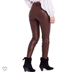 Free people Vegan leather leggings; high rise NWT
